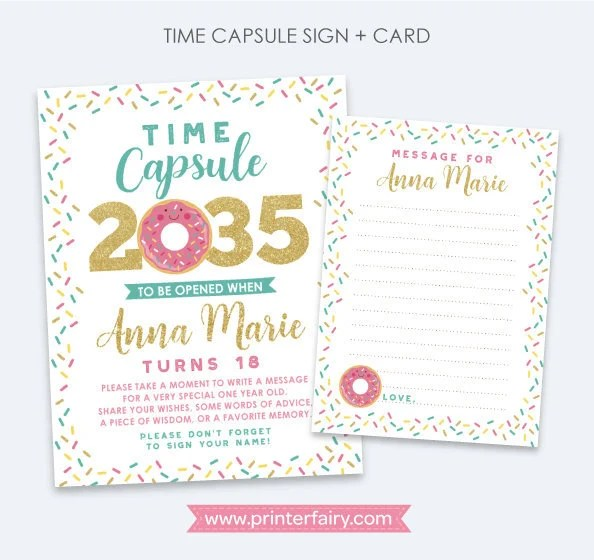 Donut First Birthday Time Capsule Personalized Sign Card Etsy