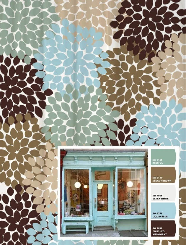 shower curtain blue brown storefront inspired floral standard and long lengths 70 74 78 84 or 96 in let s make one in your colors