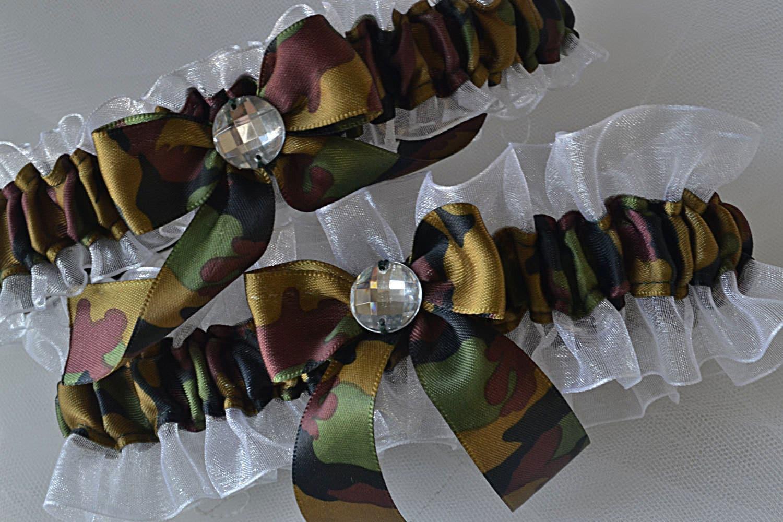 Wedding Garter Set Camo Garters Camouflage And White Sheer