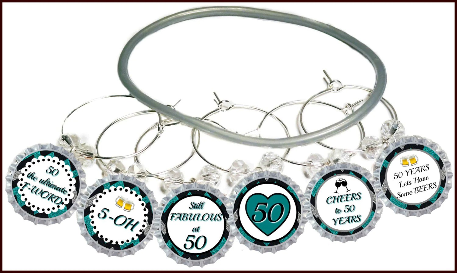 50th Birthday Bottle Cap Wine Charms Pack Of 8