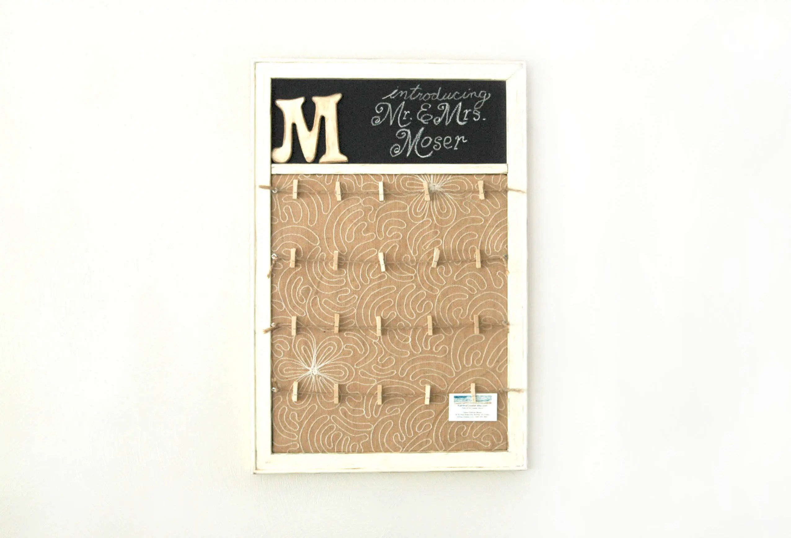 Wedding Memory Board Clothespin Picture Frame & Chalkboard