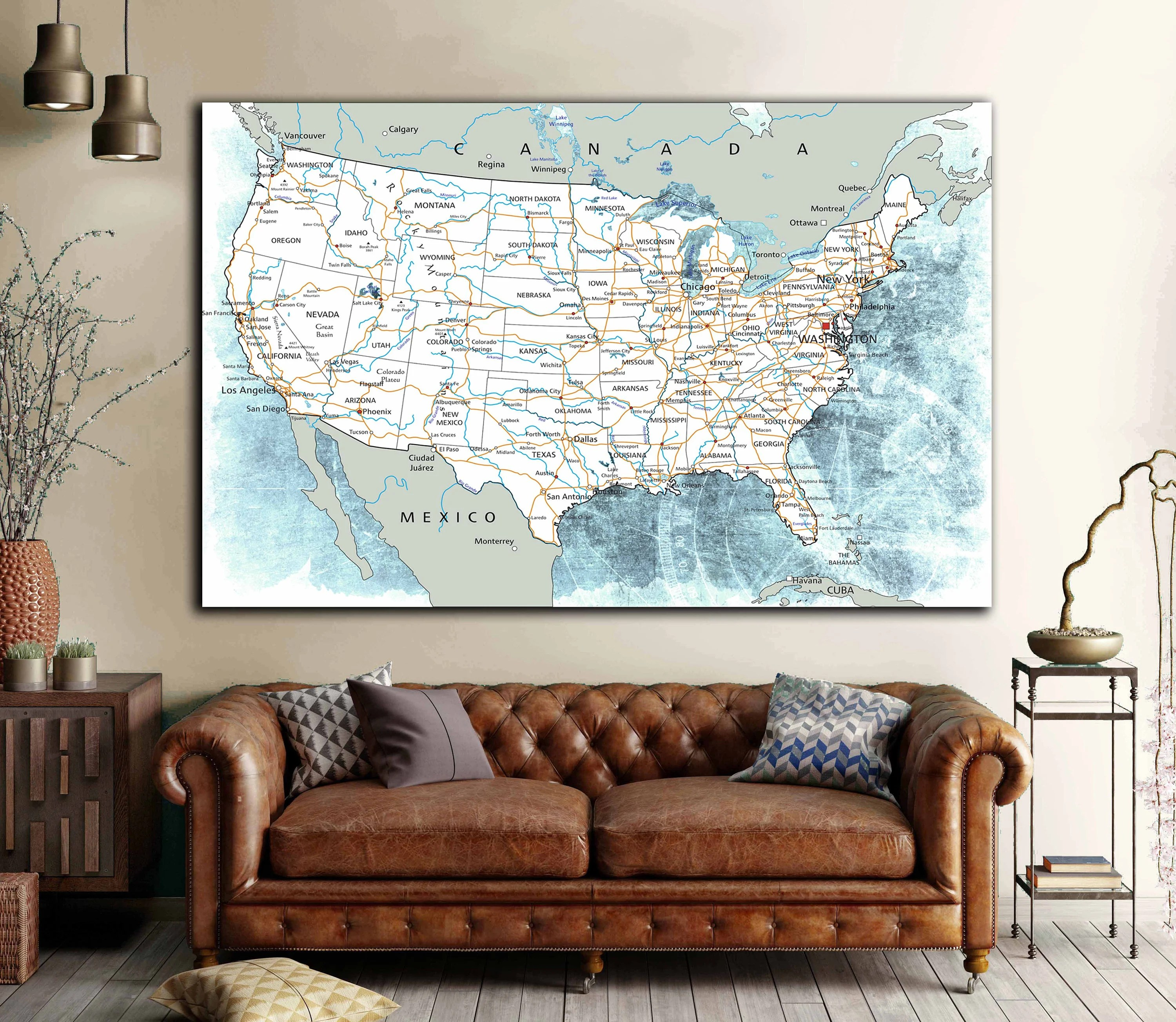 US Road Map Road Trip Map Wall Art Canvas Print Large Us Road Map     US Road Map Road Trip Map Wall Art Canvas Print Large Us Road Map Canvas  Print Us Road Map Print US Travel Map Us Map Art Us Road Push Pin