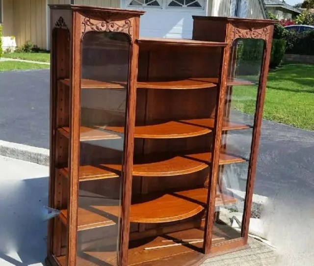 Sale Antique Wood Credenza Antique Wood Glass Hutch Antique China Cabinet Display Case Salvaged Farmhouse Furniture Curved Wooden Shelves