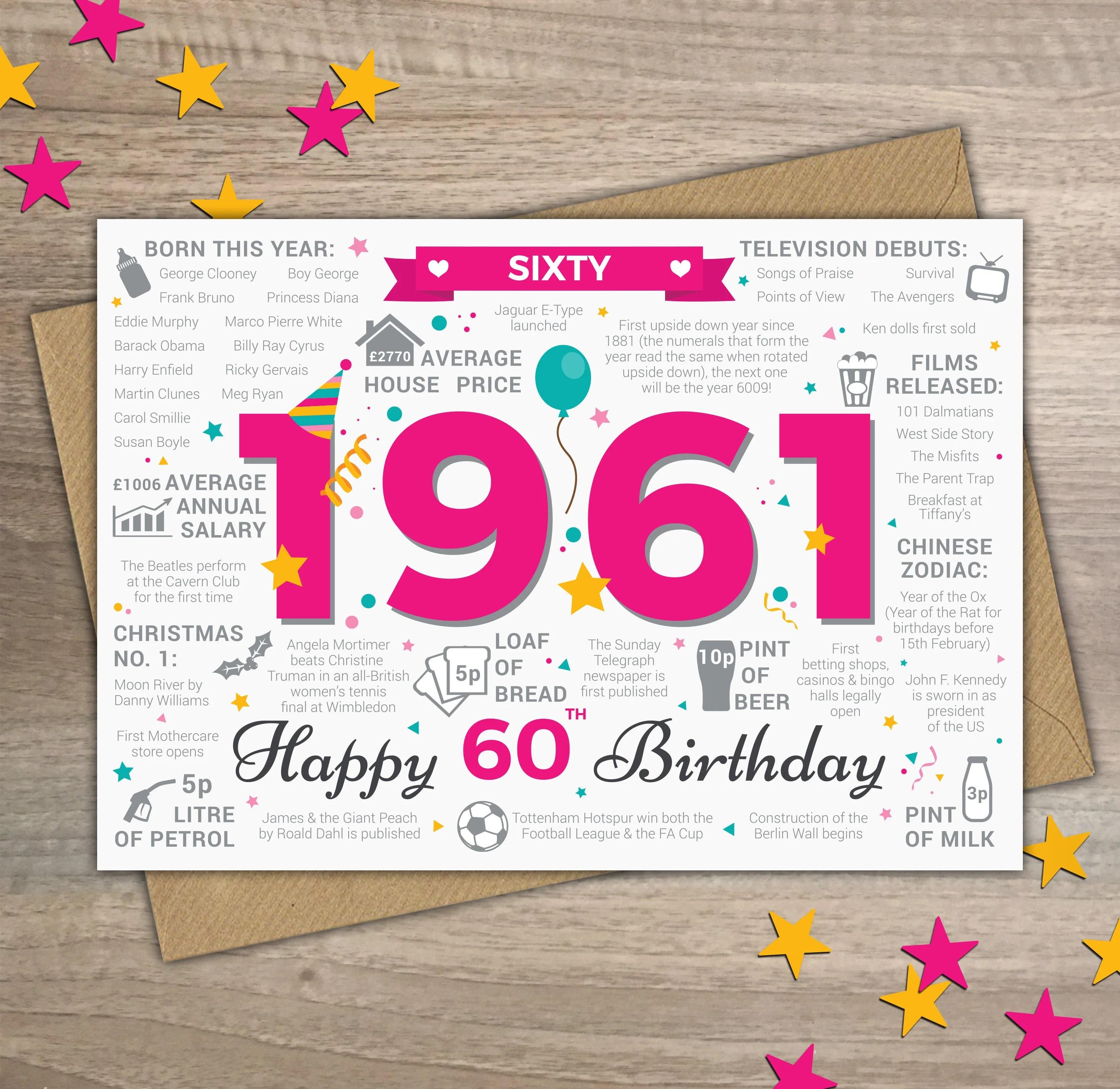 Happy 60th Birthday Womens Female Sixty Greetings Card Etsy
