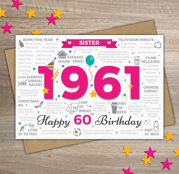 Happy 60th Birthday Sister Greetings Card Born In 1961 Etsy