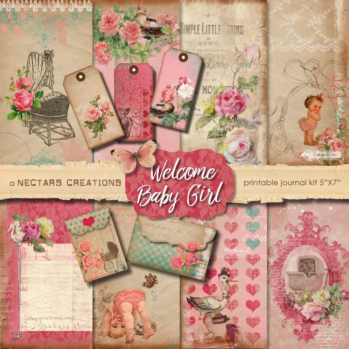 Welcome Baby Girl Vintage Printable Junk Journal Kit