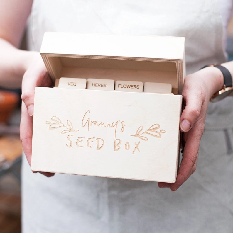 Personalised Floral Garden Seed Box by CloudsandCurrents