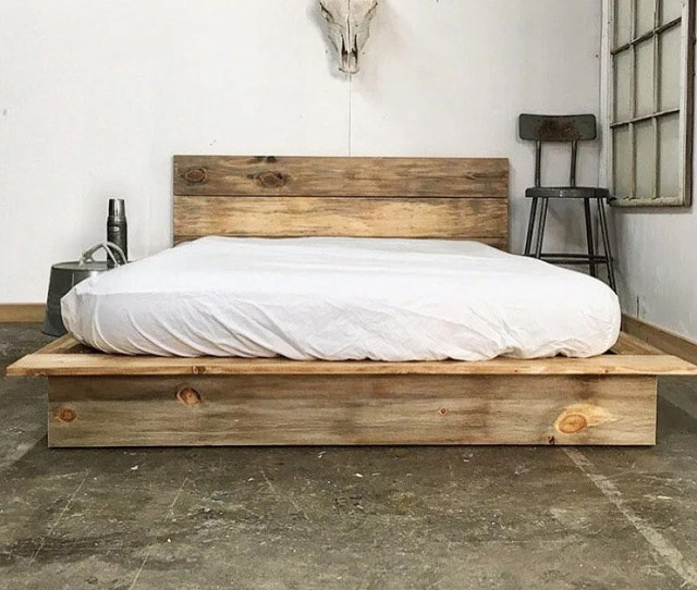 Ol Weathered Plank Low Pro Rustic Modern Platform Bed Frame And Headboard Loft Style Solid Wood Handmade In Usa