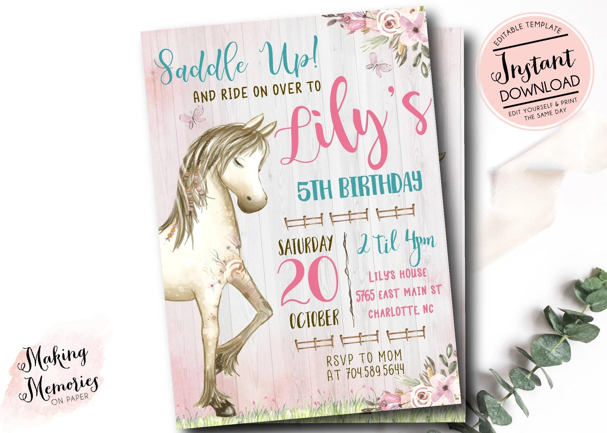 horse invitations etsy