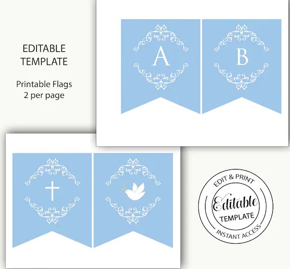 Blue And White Party Flags God Bless Baptism Banner Printable Bunting Boy Editable Banner Party Bunting Editable Template Henley