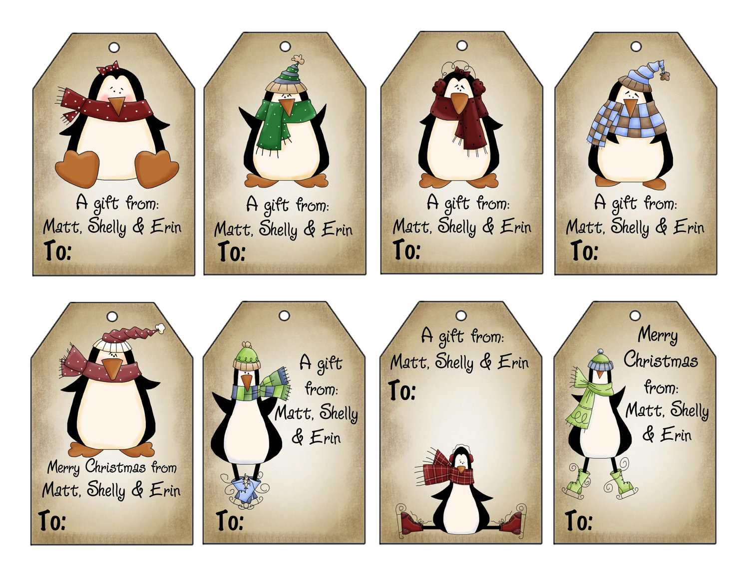 Printable Personalized Winter Penguins Christmas T Tag Set
