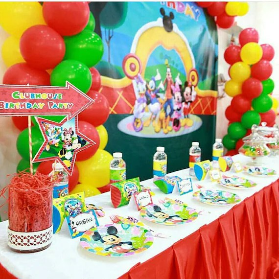 Mickey Mouse Clubhouse Party Decorations Mickey Minnie Mouse Etsy