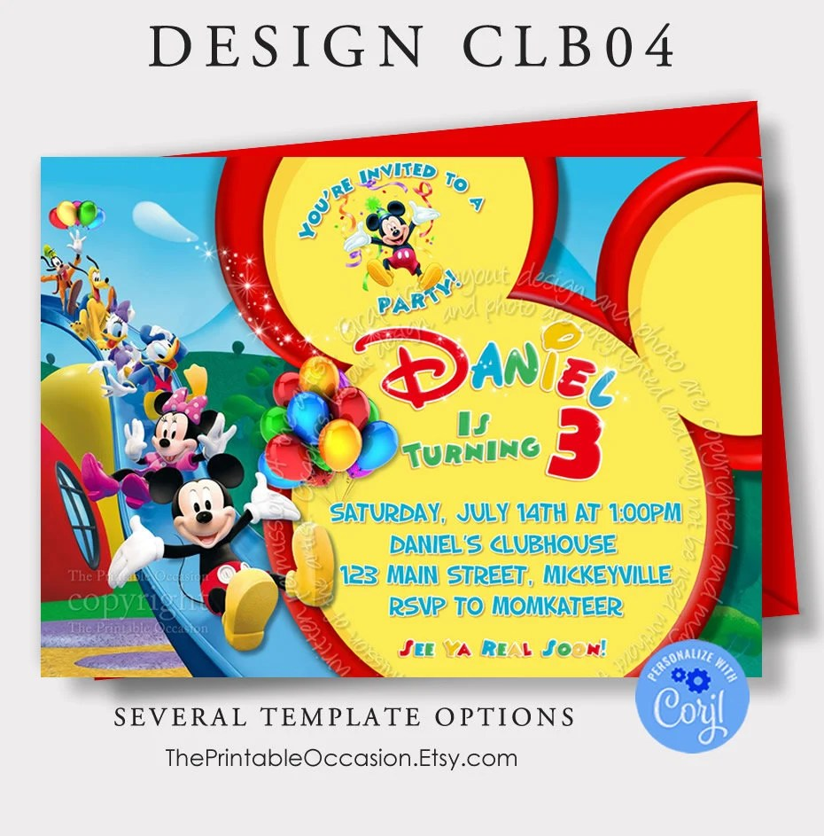 editable mickey mouse clubhouse invitation template instant download mickey mouse birthday invitation clubhouse invitation printable corjl