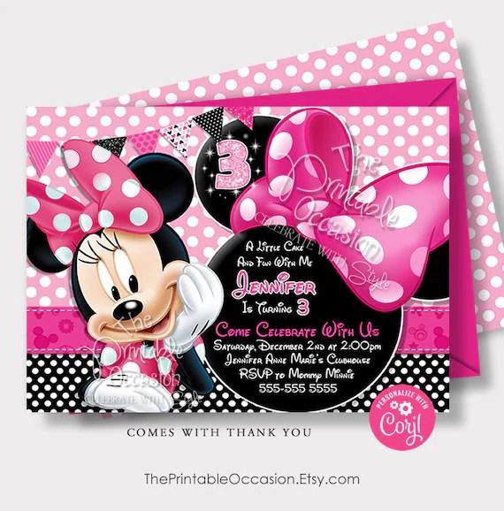 Editable Pink Minnie Mouse Birthday Invitation Minnie Mouse Etsy