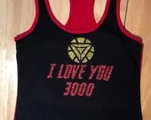 I love you 3000 in honor of Avengers End Game female red black gold tank