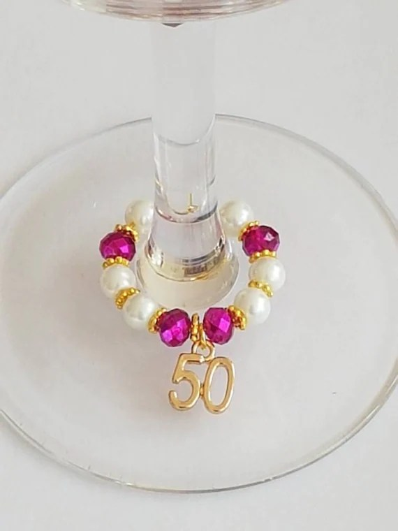 Wine Glass Charms 50th Birthday Charms Golden Anniversary Etsy