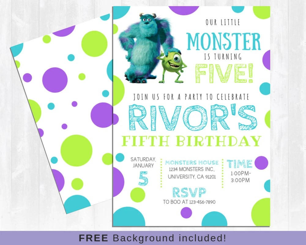 monsters inc invitation sully and mike monsters university monster birthday invitation little monster birthday invitation
