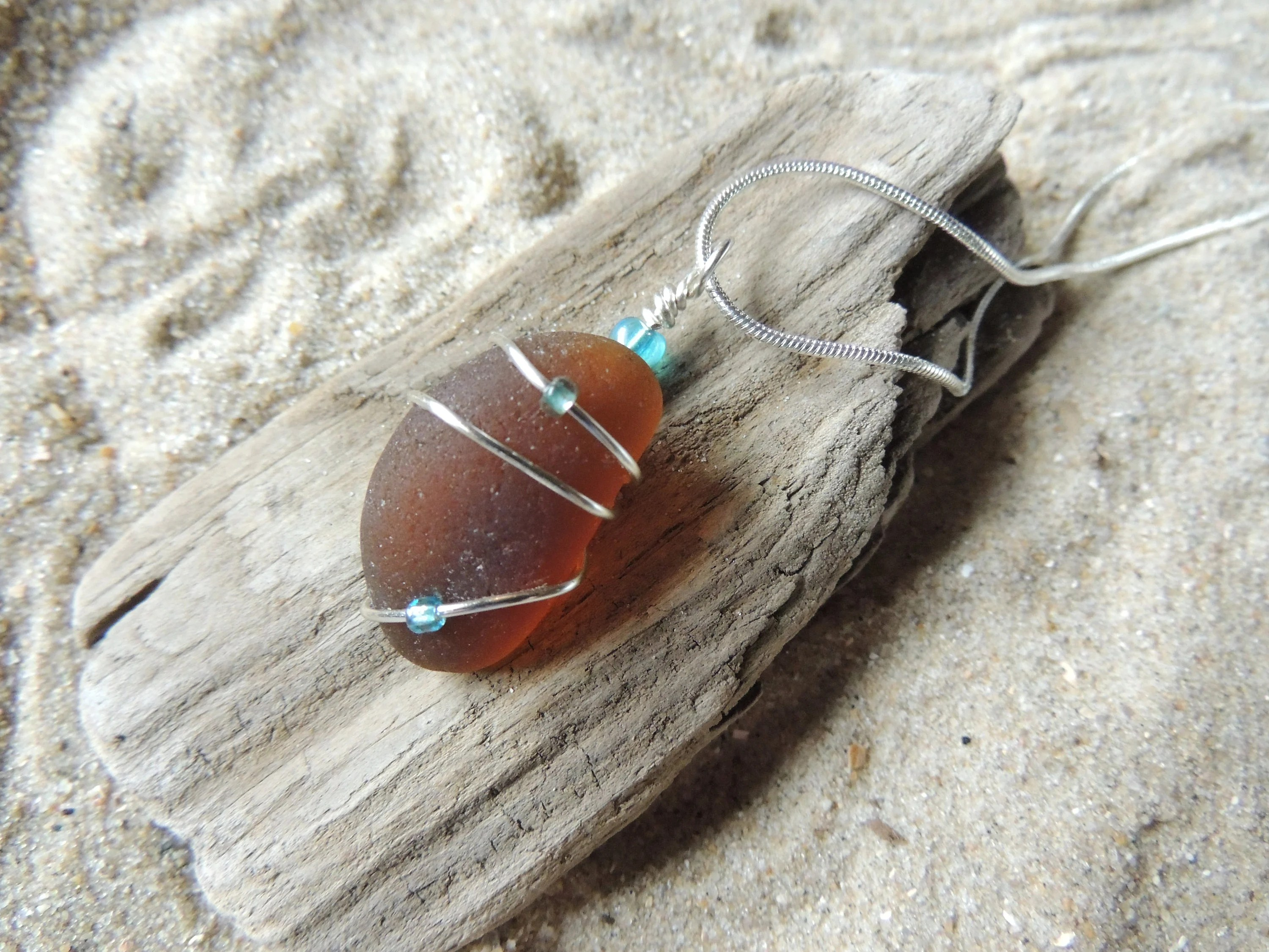 Handmade Natural Surf Tumbled Thick Amber Brown Sea Glass