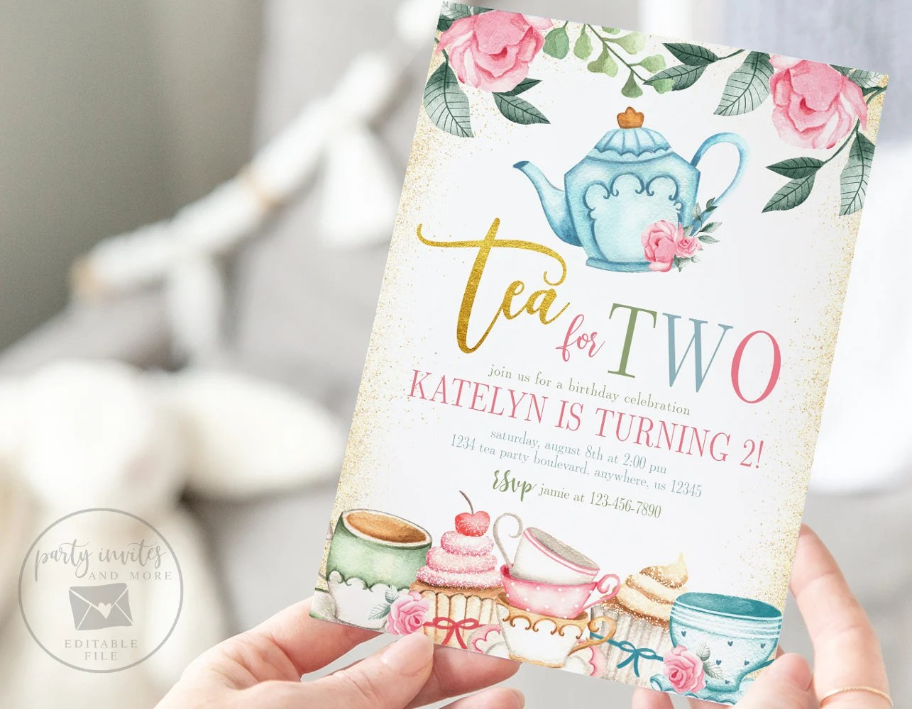 tea for two invitation etsy