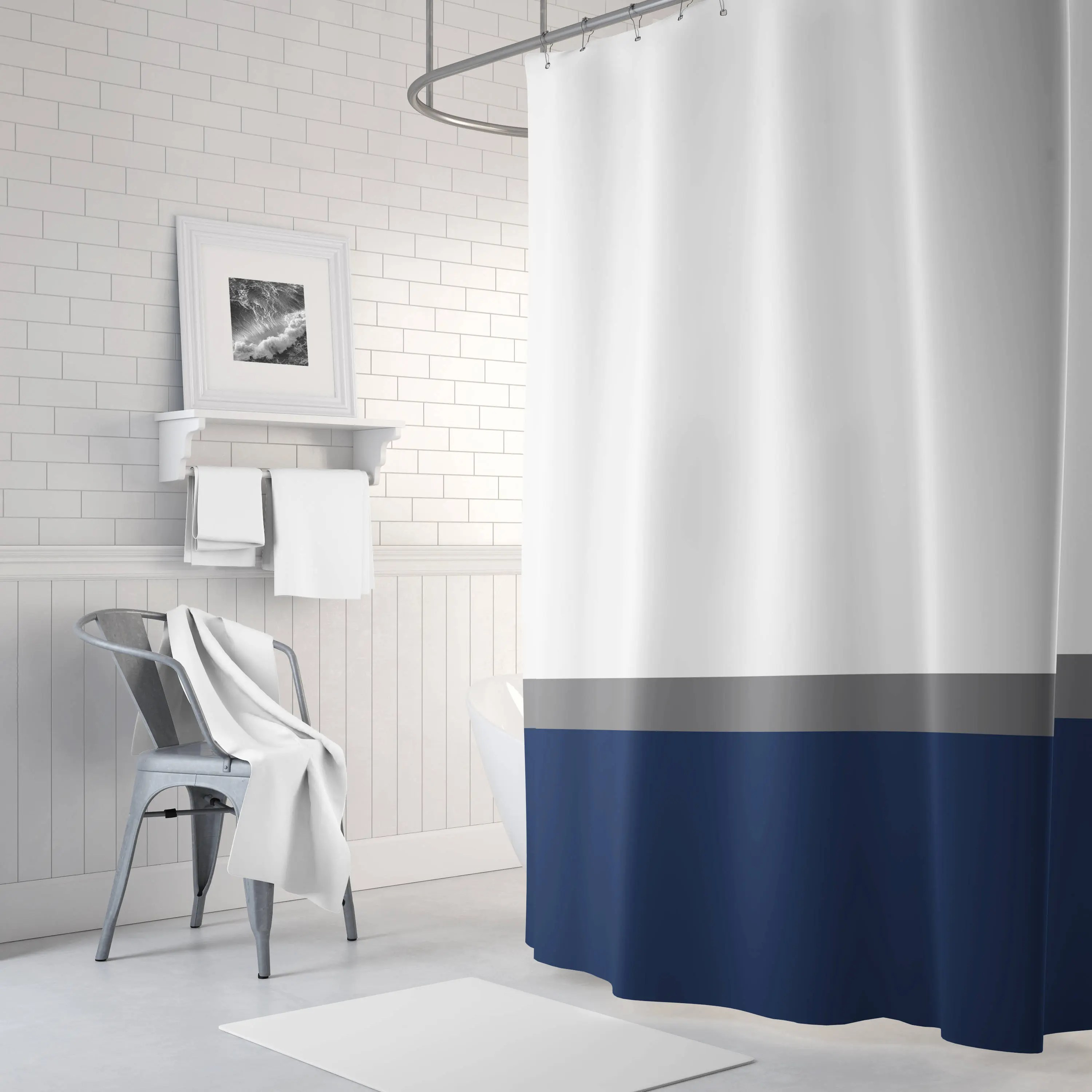 navy blue and grey shower curtain