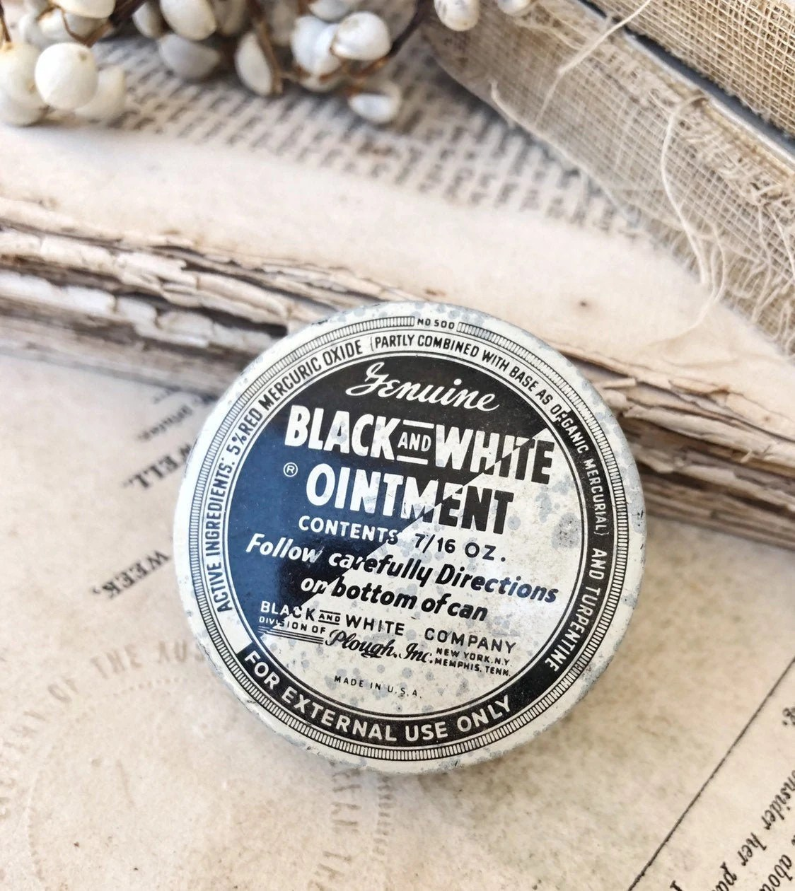 Vintage Black And White Ointment Tin Canister Box Farmhouse