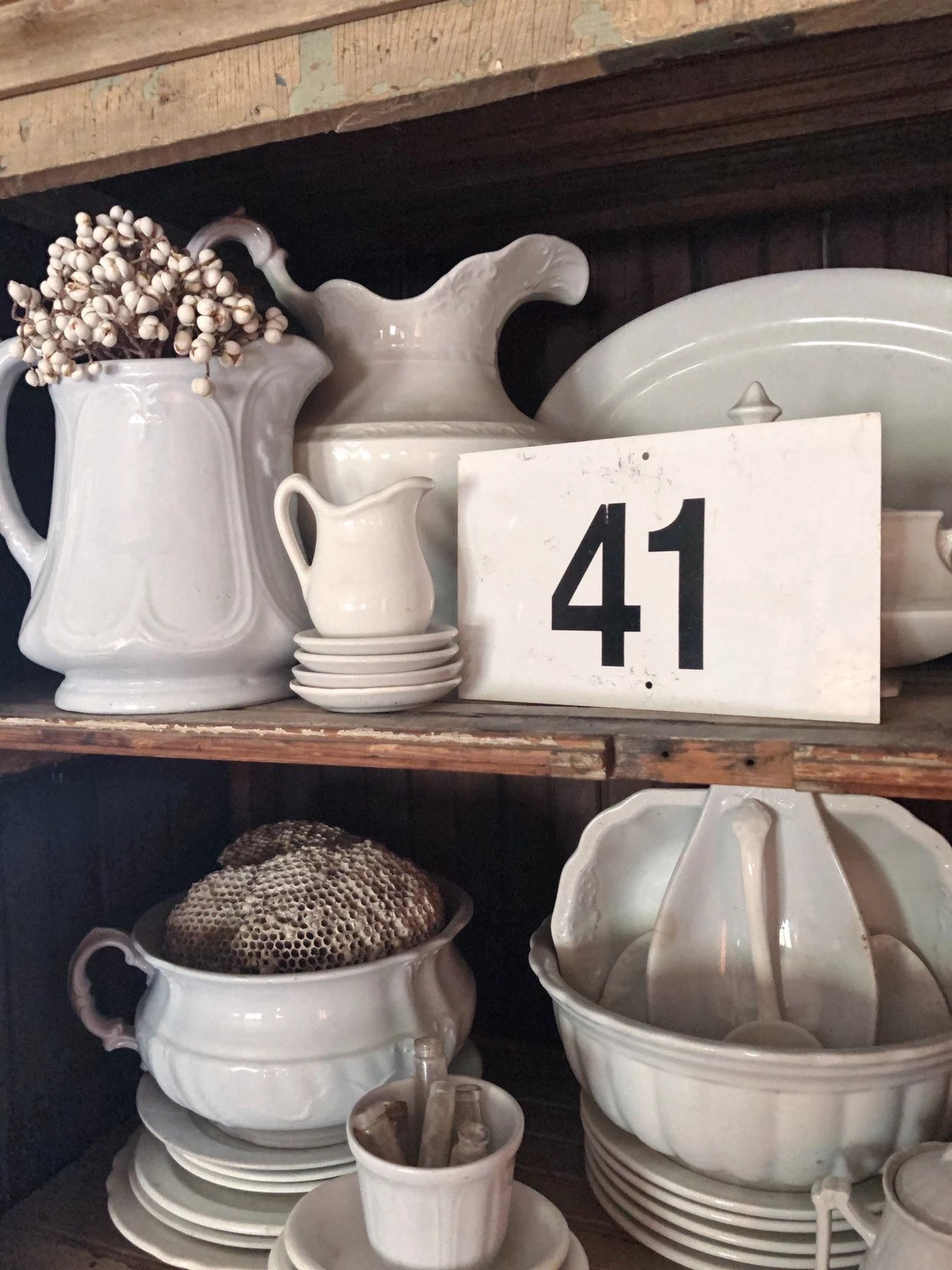 Vintage Metal Number Sign Chippy White Farmhouse Decor Industrial Salvage Address House Number French Country Chic Decor Black White Sign 41