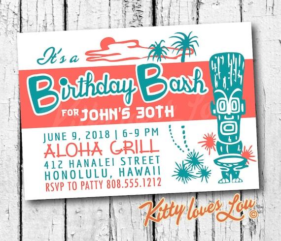 Printable Birthday Party Invitation Digital Pdf Tiki Invite Hawaiian Wedding Bachelorette Bridal Shower Retro Vintage Luau Beachy Diy