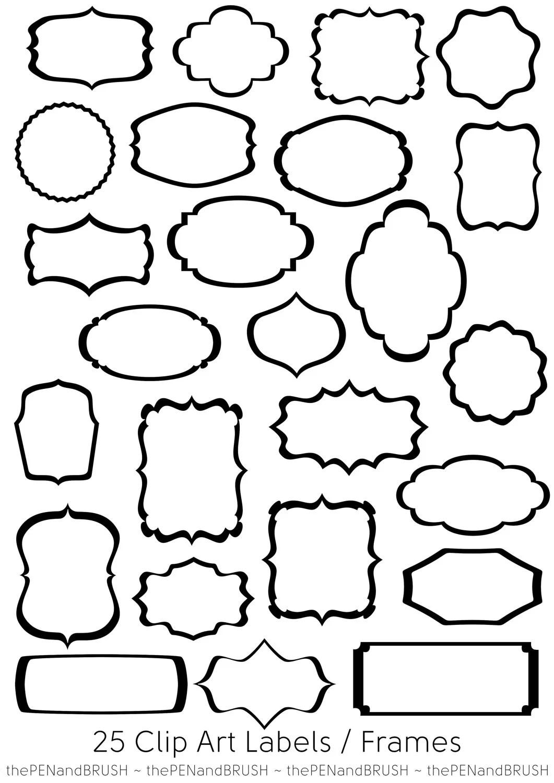 25 Label Frames Clip Art Files Transparent Middles