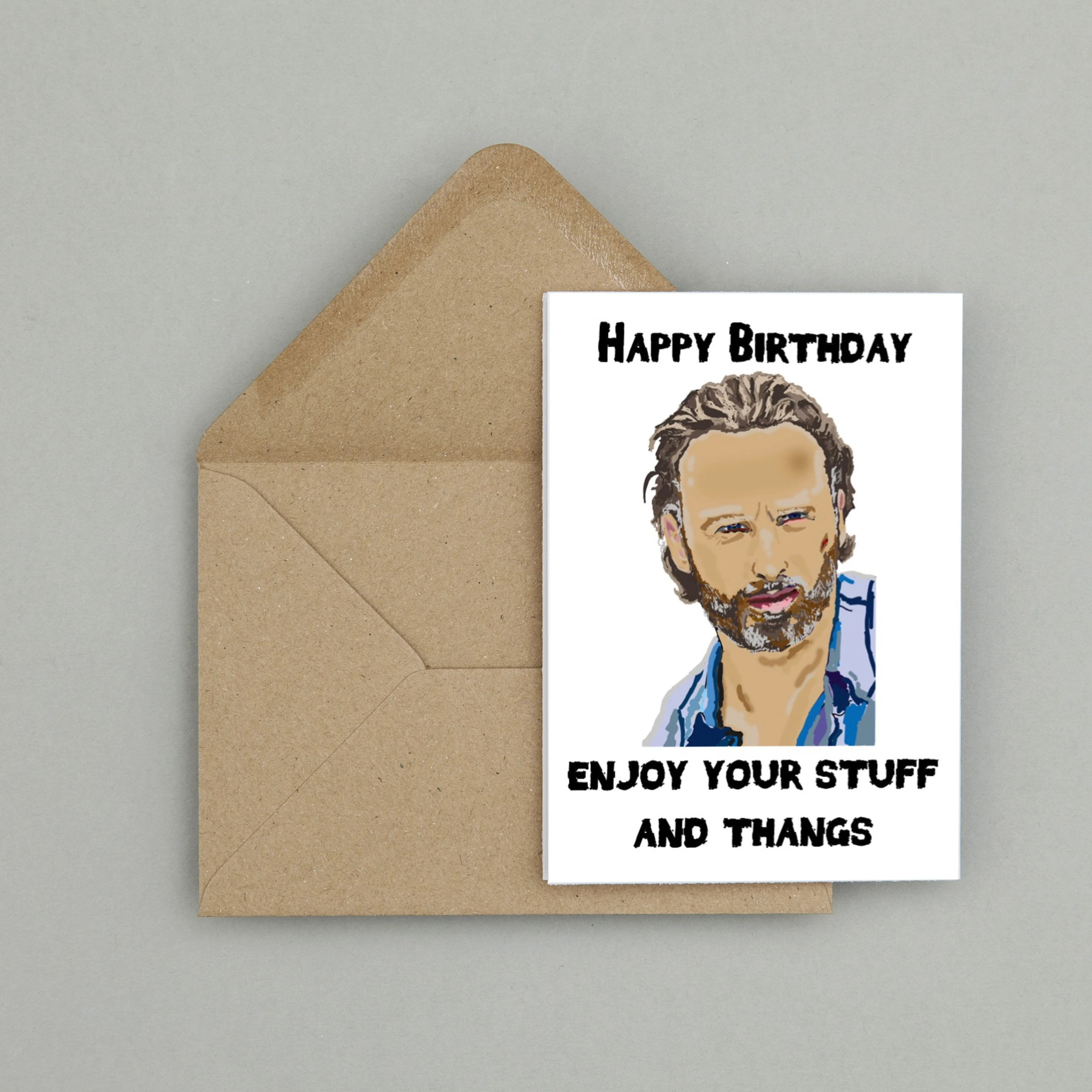 Recycled Hand Made Card The Walking Dead Rick Grimes Inspired Etsy
