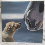 Original Painting Jake Clyde A Yellow Lab Puppy And A Clydesdale Horse 16x 16