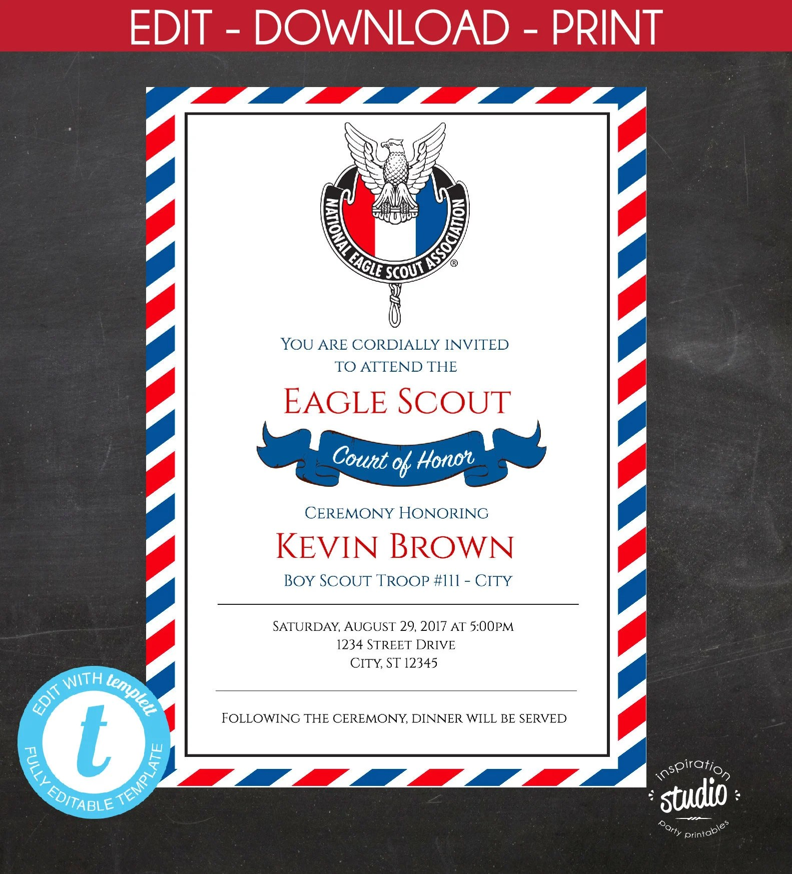 Editable Eagle Scout Court Of Honor Invitation Boy