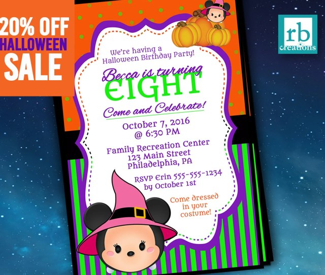 Minnie Mouse Halloween Invitation Tsum Party Invitations Vampire Mickey Halloween Tsum Party Digital Printable Jpg X