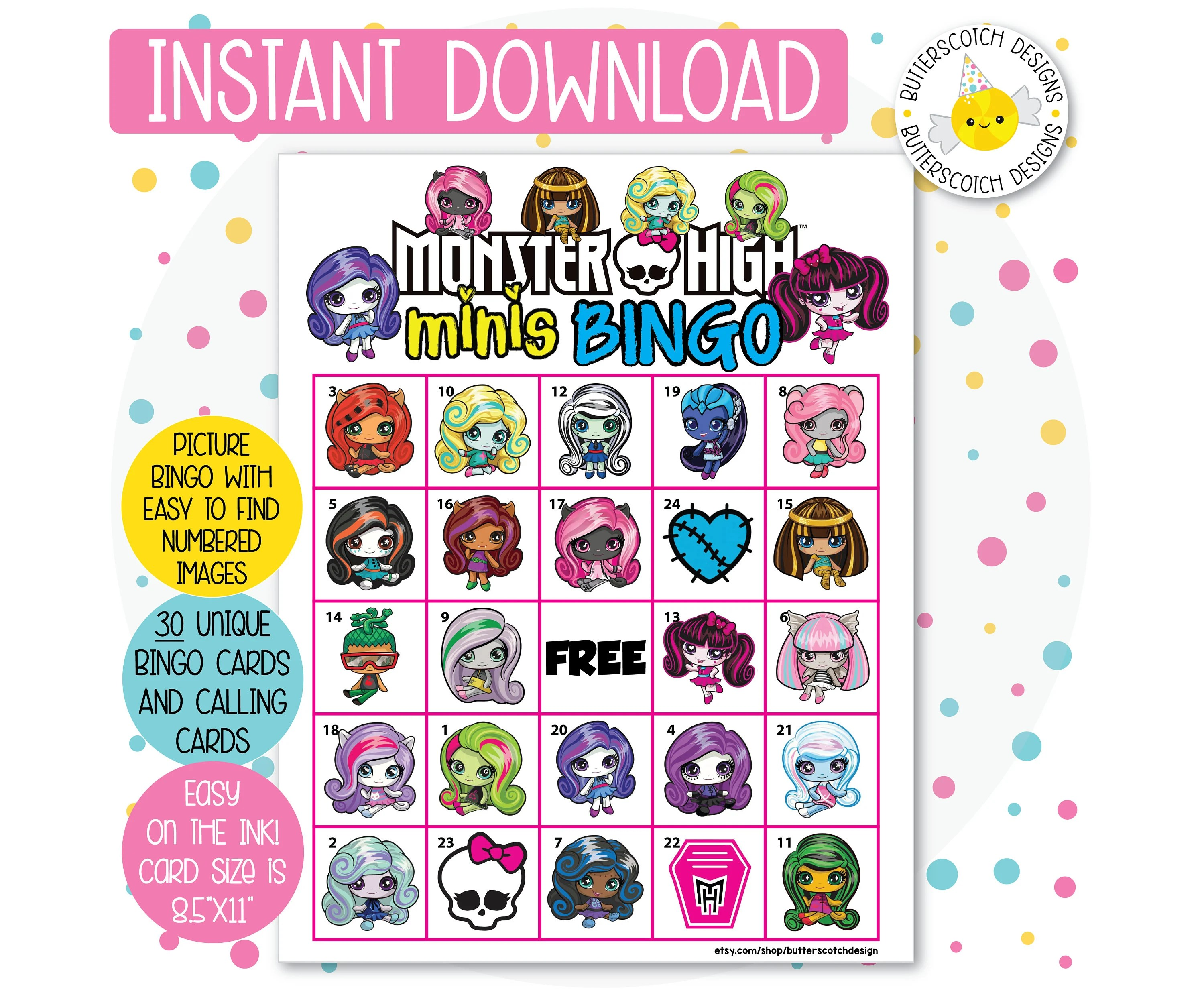 Monster High Minis Printable Bingo Cards 30 Different