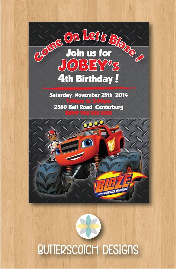 Blaze The Monster Machines Monster Truck Birthday Invitation Etsy