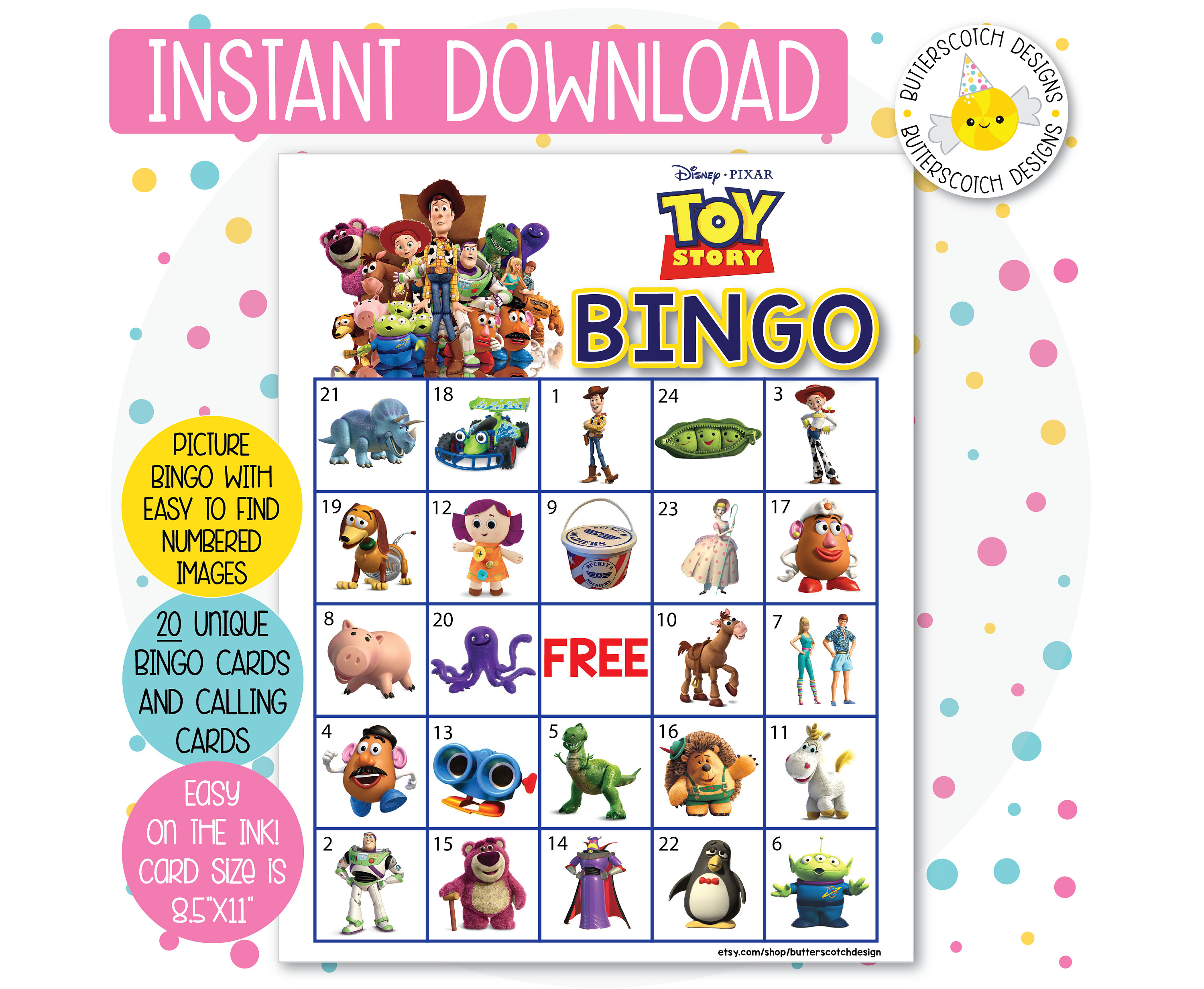 Toy Story Printable Bingo Cards 20 Different Cards Instant