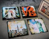 Glass coasters! Set of 4 ...