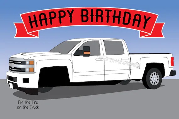 2019 Truck Game Pin Tire On The Truck Happy Birthday Party Etsy