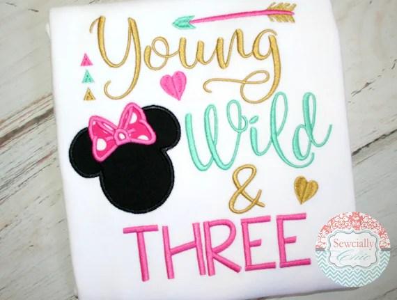 Junge Wilde Und Drei Shirt Minnie Birthday Disney 3 Etsy