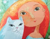 "Postcard ""With Cat"" Artist: Rita Wolff"