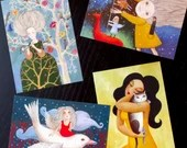 set of 4 postcards from Rita Wolff (free choice)