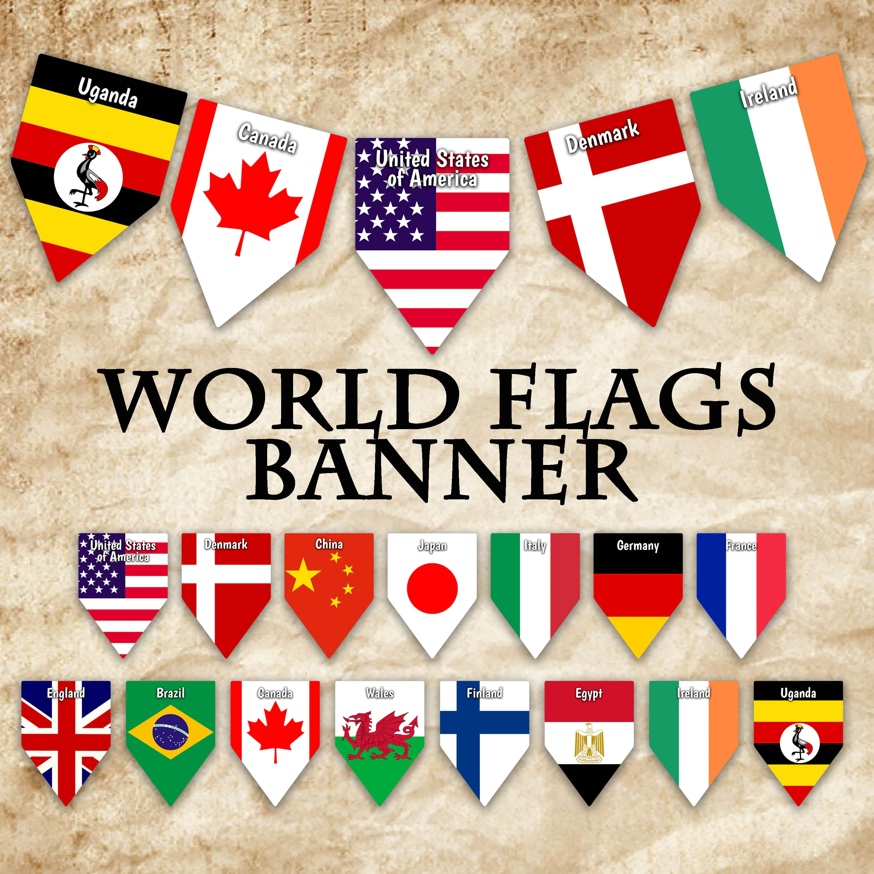 World Flags Printable Banner Includes 64 Flags With Names