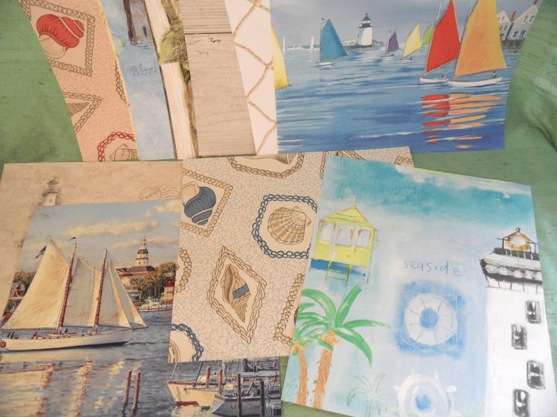 15 Nautical Themed Wallpaper Sample Sheets Pack Various