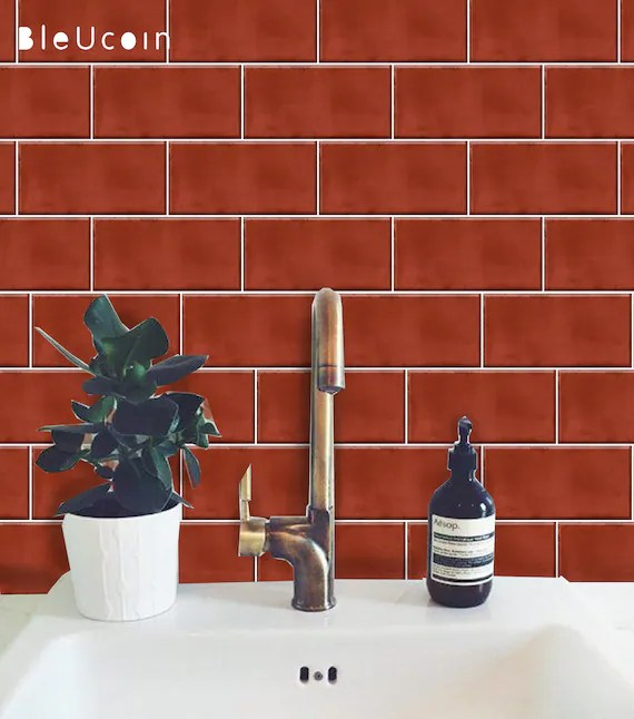 plain terracotta subway staggered rectangular tile decal for kitchen bathroom floor stairs peel and stick tile stickers pack of 44