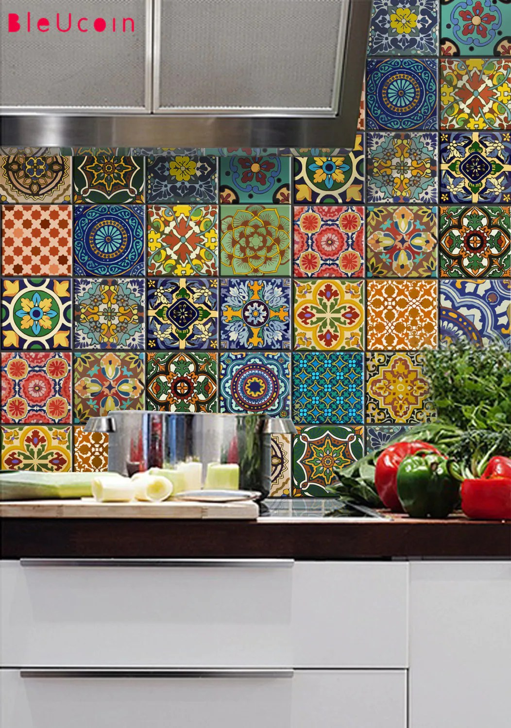 bleucoin mexican talavera peel n stick tile stickers for tile wall stair floor kitchen bath backsplash removable waterproof pack of 44