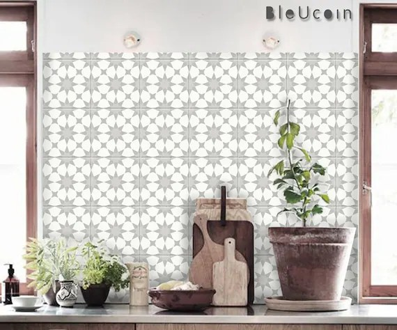 pacific grey moroccan tile wall stair floor self adhesive etsy