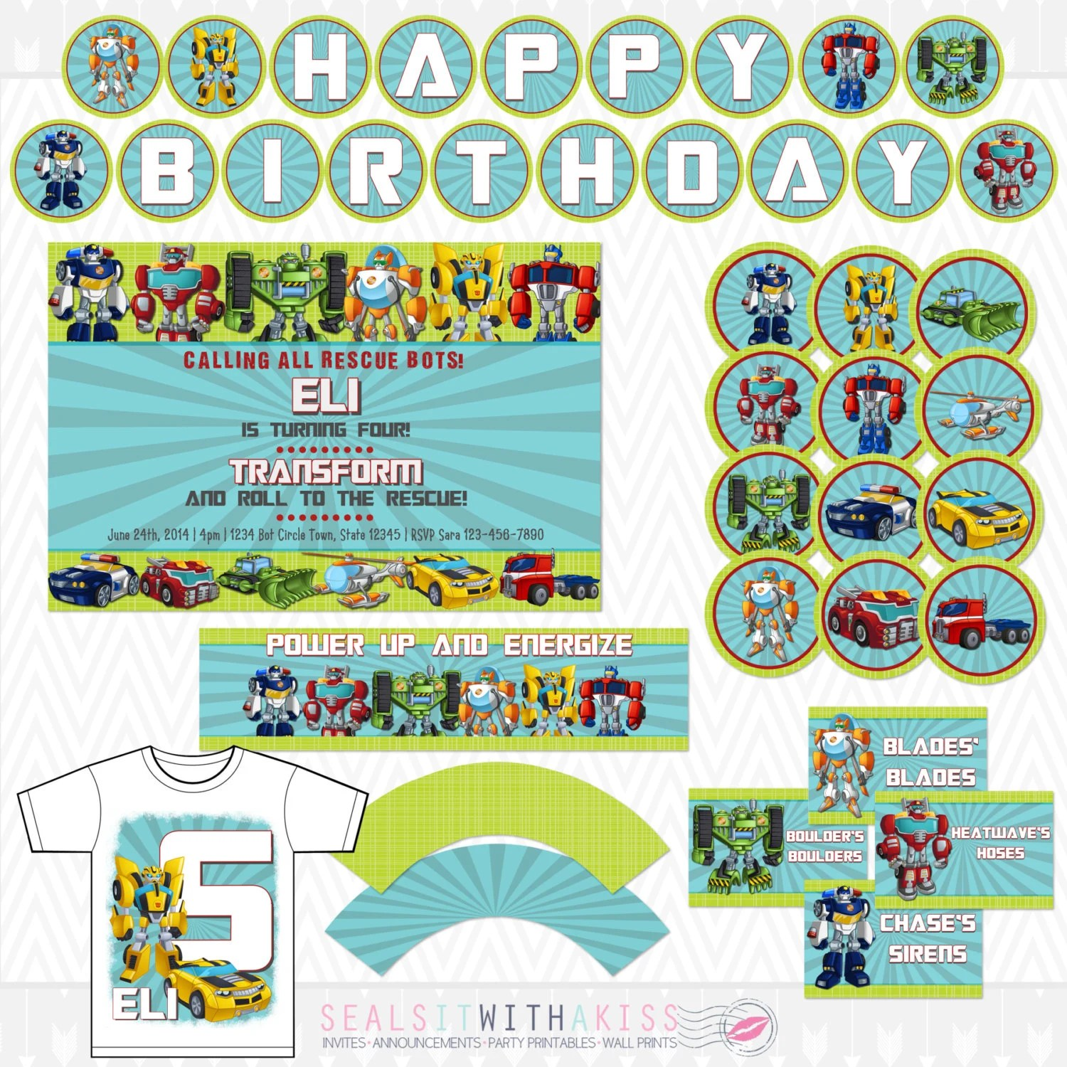 Transformers Rescue Bots Birthday Party Package Inclues Etsy