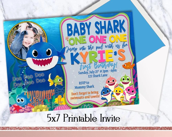 Pool Party Invite Baby Shark First Birthday Invitation Etsy