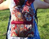 Red floral print backpack...