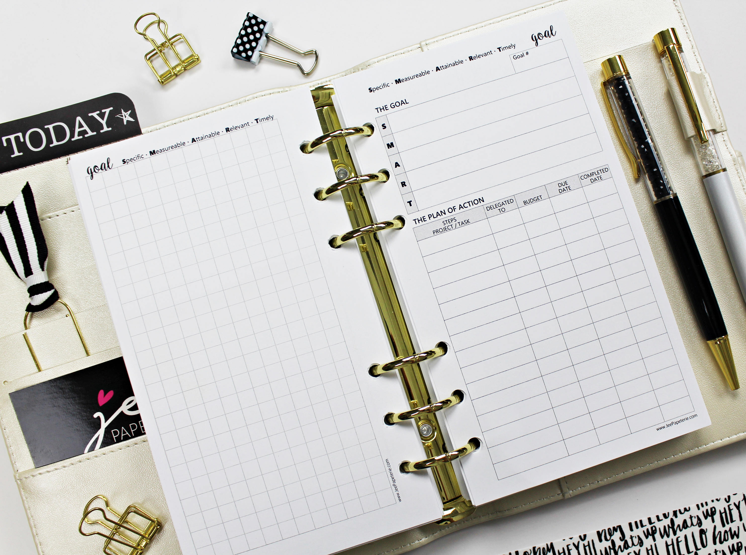 Goals Worksheet Goals Planner Inserts A Variety Of Sizes