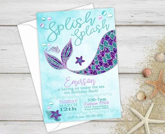 mermaid invite birthday invitations